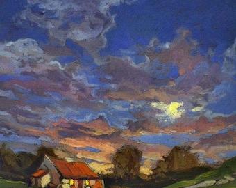 Mountain Cottage - Giclee Fine Art PRINT matted 11x14 by Jan Schmuckal