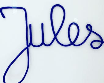 Name in Royal Blue knitted baby/kids room decoration