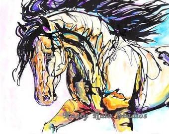 colorful horse print art