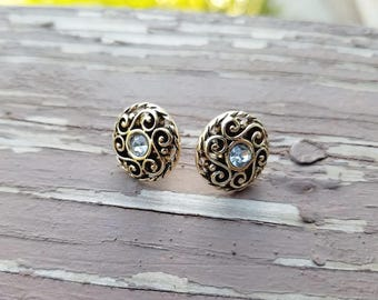 Vintage Style Gold Button Earrings with Crystal Accents - Filigree Detail Antique Gold Stud Posts