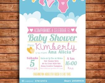 c6a8b3c16 Invitacion Baby Shower Niña - Baby Shower Girl Invitation