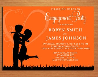 Love Silhouette Orange Engagement Party Customized Printable Invitations /  DIY