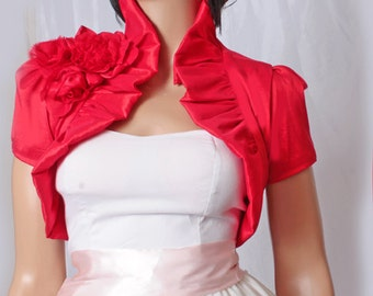 Bridal  red  taffeta  shrug wedding /   bridesmaid/   bolero