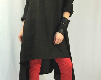 Black Linen Tunic Dress / Oversize Women Caftan / Asymmetric Maxi Dress / long Sleeve Linen Top / Casual Top / EXPRESS SHIPPING / LA1001