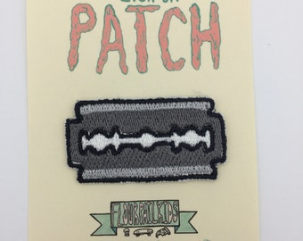 Razor blade iron on embroidered patch
