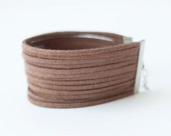 Wide Bracelet, Brown bracelet, Multi Strands Bracelet, Faux Suede Bracelet, Boho Bracelet, Ladies Minimalist Bracelet,