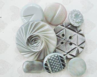 Gray Czech Buttons - Vintage Czech Glass Notch Buttons - Assorted Grey Glass Buttons - Grey Swirl Buttons - 8 Fancy Gray Glass Buttons