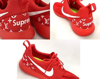 7e0c5b14c1ba5 ... release date nike roshe run supreme foamposite custom 1 men women red  white custom nike roshe