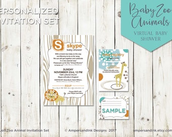 Baby Zoo Animals - Baby Shower, Baby Sprinkle, Virtual Baby Shower, Printable PDF Personalized Invitation Set