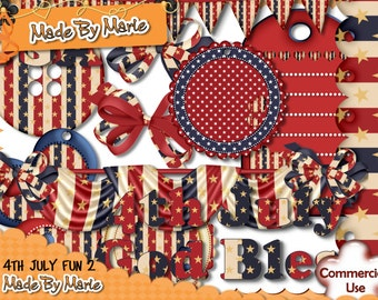 4th July, Digital Scrap Kit, Digital Scrapbooking,  4th July Scrap Kit, Commercial Use, Instant Download, Independence Day Scrap Kit