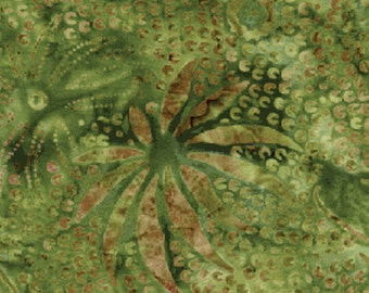 """16"""" REMNANT Venetian Collection - Fireworks in Green - Triple Dyed, Hand Dyed Bali Batiks - Cotton Quilt Fabric - Benartex (W1081)"""