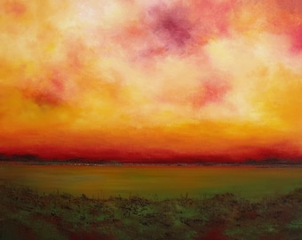 Oil Painting Sundown Riverside Rural Painting by Faith Patterson