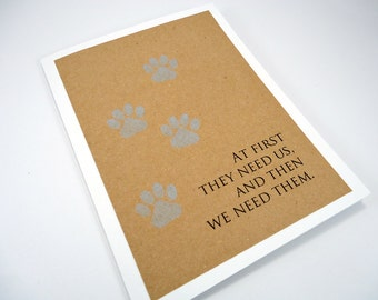 Pet Sympathy Card, Loss of Pet, Pet Condolence, Dog Sympathy, Cat Sympathy, Veterinarian, Paw Prints, Sorry for your Loss, Blue Tan White