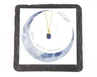 Dainty Sapphire Necklace, Gift for Virgo, Tiny Stone Drop Necklace, Raw Cut Stone, September Birthstone, Horoscope Zodiac Gift, Minimalist
