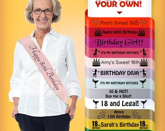 New Luxury Personalised 60th 70th 80th Birthday Sash Adult Lovely Perfect Gift for Woman Elder Grandmother Satin Custom Single Sided