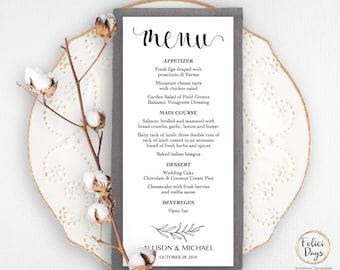 Rustic Wedding Menu Template, DIY Wedding Menu Template, Printable Wedding Menus, Editable Menu Template, PDF Instant Download WD211