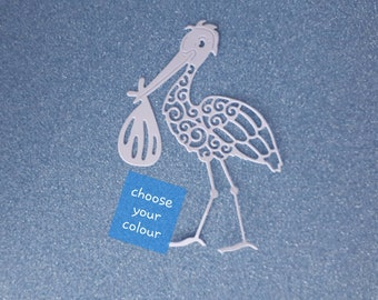 Stork holding bundle - intricate die cut - flat colour cardstock - approx 11.5cm/4.5 inches x 5.8cm/2.3 inches