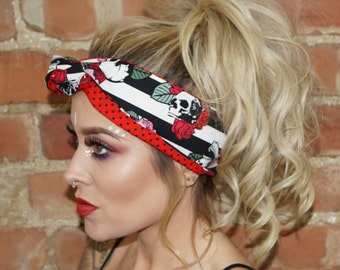 Skull & Rose Festival Rockabilly Pin up Headband