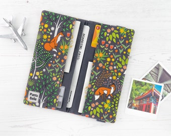 Boarding Pass Wallet // Travel Wallet In Exclusive Fabric - Foxes // Animal Pattern // Family Sized // Gifts For Women // Travel Gifts