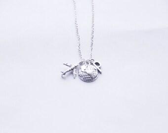 Travel Necklace, Bon Voyage Necklace, Silver Charm Necklace, Traveller Necklace, Plane Necklace, Planet Earth Necklace, World Traveller