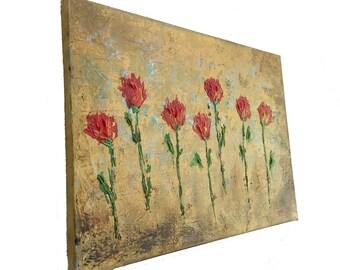 Original art Red Rose Row on Canvas