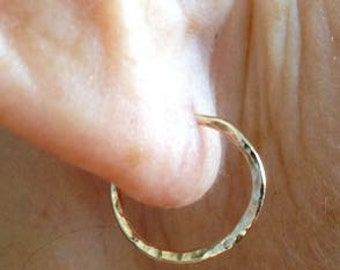 14K Gold Hoops. Yellow Gold Hoop Earrings, 14 K Yellow Gold, Gold Sleepers, Hoop Earrings Gold, Secure Clasp, Hammered Gold Hoops, Small