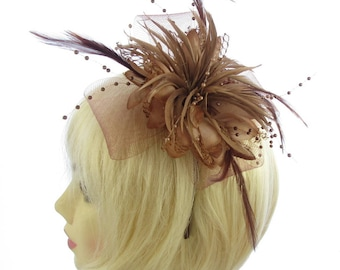 Brown tones feather and beading fascinator on matching headband, weddings, Ascot Races,Ladies Day