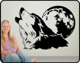 "Howling Wolf Wall Decal  with Full Moon vinyl wall art, 30"" wide x 23"" tall"