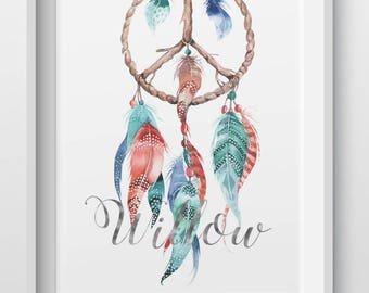 Dream catcher peace personalised foil print