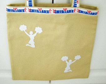 Cheerleader Tote Bag Tan Denim  Cheer Bag