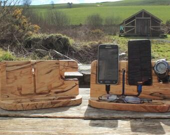 Spalted Beech Desk Organiser, Smartphone Stand, iPhone Stand, Docking Station, Charging Station, Anniversary Gift For Men, Birthday Gift