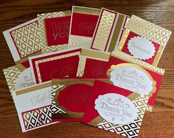 Thank You Cards Red & Gold