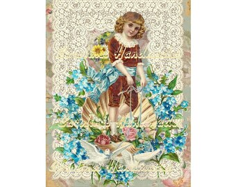 "Victorian Boy Doves Collage Cotton Fabric Quilt Block (1) @ 5X7"" on 8.5X11"" Sheet"