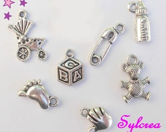 7 charms 12 mm mixed baby 20: foot handmade teddy bear pin cot pram stroller silver-plated cube bottle