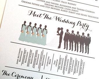 Silhouette Wedding Program Meet the Wedding Party Silhouette Program DEPOSIT - Bridal Party Silhouette Wedding Program Fan | WE print