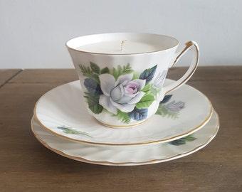 White Rose Vintage Teacup Candle Set