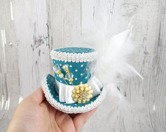 Teal and White Polka Dot Empress Small Mini Top Hat Fascinator, Alice in Wonderland, Mad Hatter Tea Party, Derby Hat