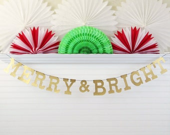 Merry & Bright Banner - Glitter 5 inch Letters - Elegant Christmas Banner Holiday Banner Holiday Glitter Decor Glitter Christmas Decoration