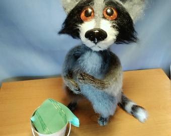 Raccoon Stuffed animals Forest animal Toy woodland Knitting pattern Fiber Arts Wool raccoon Dolls Collectible toys Plushie raccoon