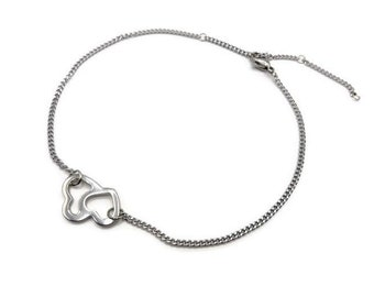 Ankle bracelet stainless steel - entwined hearts ankle chain - jewelry made in France - B101