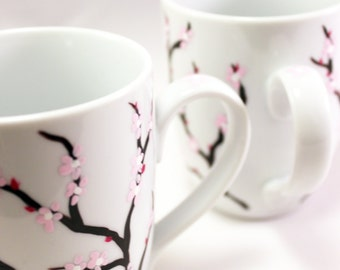 Hand painted coffee mugs with cherry blossoms, painted cherry blossom mugs, set of 2