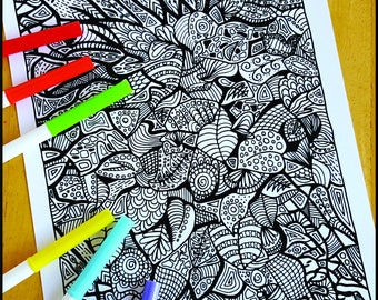 Coloring Page, Fall Foliage Abstract, Printable