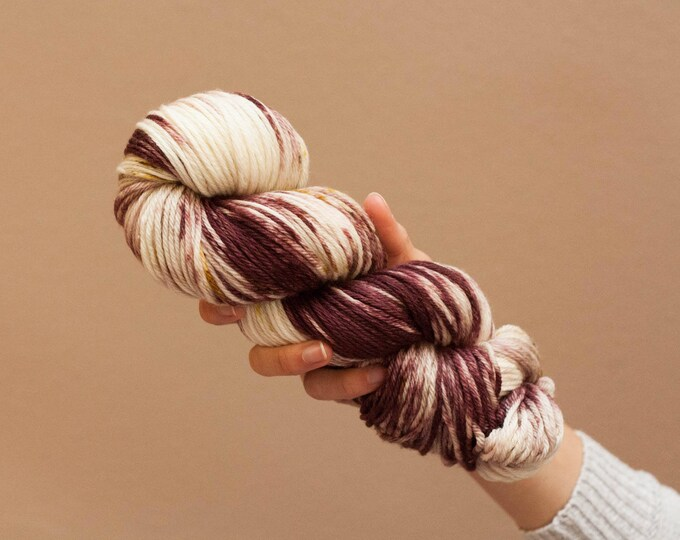 Hand dyed yarn, Superwash merino, DK yarn, light worsted, merino yarn, speckled yarn, purple yarn, pink yarn, brown yarn, yellow yarn,