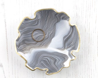 Grey Marble Trinket Dish, Ring Dish, Gift For Her, Bridesmaid Gift, Jewelry Dish, Jewellery Dish, Ring Holder