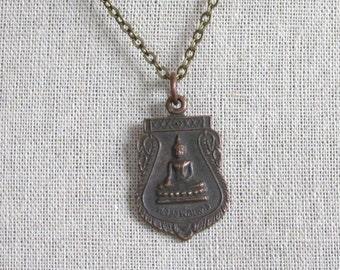 Vintage Buddha Buddhist Medal Necklace Mens Necklace