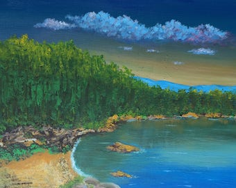 oil landscaping painting,Natural view painting,sea painting ,green and blue painting,landscaping oil painting