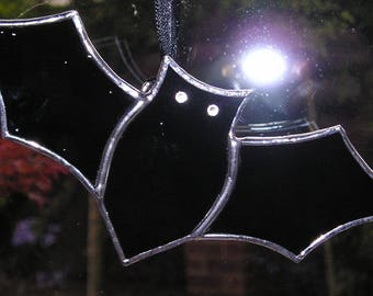 Stained Glass Bat, Halloween, Thanksgiving, Suncatcher, Handmade in England