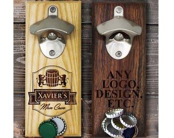 Groomsmen Wall Mounted Bottle Opener, Personalized Bottle Opener Wall Mount Magnetic, Custom Wall Mount Bottle Magnet, Beer Gifts for Men