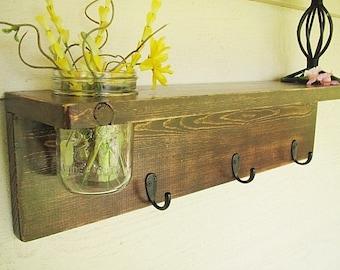 Mason Jar Reclaimed Wooden Shelf Coat Rack Rustic