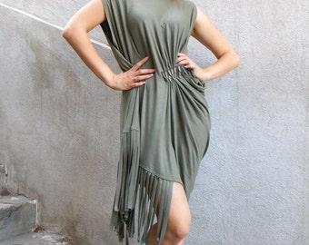 Fringe Dress, Asymmetrical Khaki Dress with Fringes, Fringe Maxi Dress TDK128, Boho Summer Dress by TEYXO